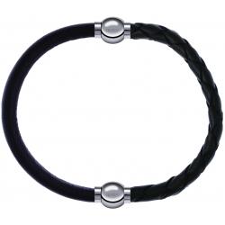 Apollon - Collection MiX - bracelet combinable cuir italien marron foncé - 10,25cm + cuir tressé italien vert - 10,5cm
