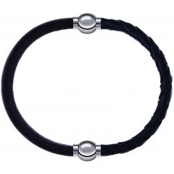 Apollon - Collection MiX - bracelet combinable cuir italien marron foncé - 10,25cm + cuir tressé italien noir - 10,5cm