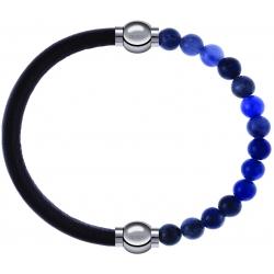 Apollon - Collection MiX - bracelet combinable cuir italien marron foncé - 10,25cm + sodalite 6mm - 10,25cm