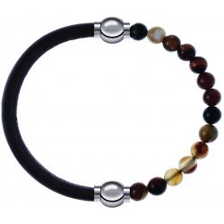 Apollon - Collection MiX - bracelet combinable cuir italien marron foncé - 10,25cm + agate marron 6mm - 10,25cm