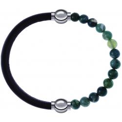 Apollon - Collection MiX - bracelet combinable cuir italien marron foncé - 10,25cm + agate verte mousse 6mm - 10,25cm