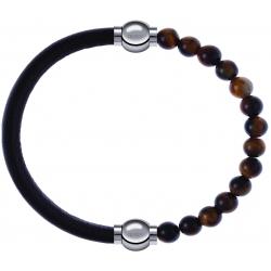Apollon - Collection MiX - bracelet combinable cuir italien marron foncé - 10,25cm + oeil de tigre 6mm - 10,25cm