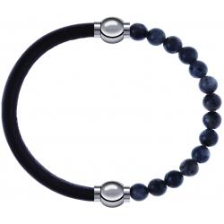 Apollon - Collection MiX - bracelet combinable cuir italien marron foncé - 10,25cm + labradorite 6mm - 10,25cm