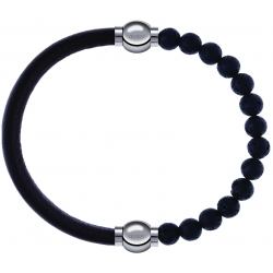 Apollon - Collection MiX - bracelet combinable cuir italien marron foncé - 10,25cm + pierre de lave 6mm - 10,25cm