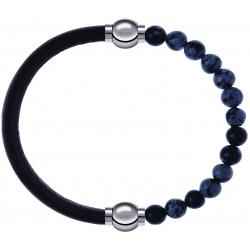 Apollon - Collection MiX - bracelet combinable cuir italien marron foncé - 10,25cm + obsidienne neige 6mm - 10,25cm