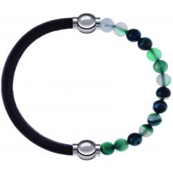 Apollon - Collection MiX - bracelet combinable cuir italien marron foncé - 10,25cm + agate indienne teintée 6mm - 10,25cm