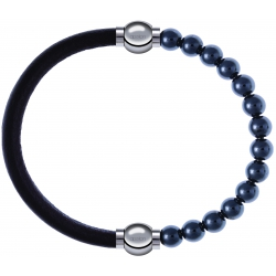 Apollon - Collection MiX - bracelet combinable cuir italien marron foncé - 10,25cm + hématite 6mm - 10,25cm
