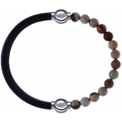 Apollon - Collection MiX - bracelet combinable cuir italien marron foncé - 10,25cm + agate jaspe 6mm - 10,25cm