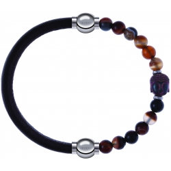 Apollon - Collection MiX - bracelet combinable cuir italien marron foncé - 10,25cm + agate marron 6mm - Bouddha - 10cm