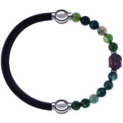 Apollon - Collection MiX - bracelet combinable cuir italien marron foncé - 10,25cm + agate verte 6mm - Bouddha - 10cm
