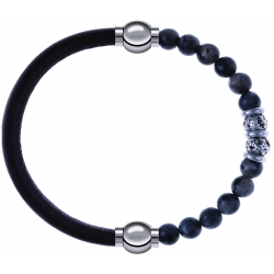 Apollon - Collection MiX - bracelet combinable cuir italien marron foncé - 10,25cm + sodalite 6mm - 10cm