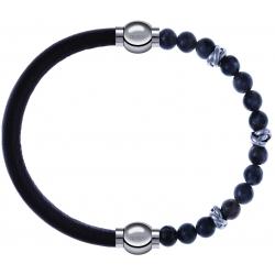 Apollon - Collection MiX - bracelet combinable cuir italien marron foncé - 10,25cm + labradorite 6mm - 10cm