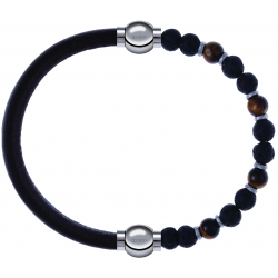 Apollon - Collection MiX - bracelet combinable cuir italien marron foncé - 10,25cm +oeil de tigre - pierre de lave 6mm - 10,75cm