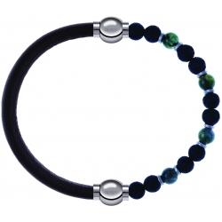 Apollon - Collection MiX-bracelet combinable cuir italien marron foncé-10,25cm + agate teintée verte-pierre de lave 6mm-10,75cm
