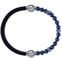 Apollon - Collection MiX - bracelet combinable cuir italien marron foncé - 10,25cm + hématite 6mm - 10cm
