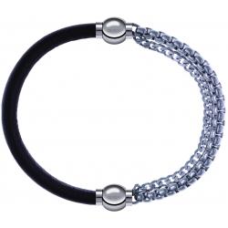 Apollon - Collection MiX - bracelet combinable cuir italien marron foncé - 10,25cm + chaines - 10,25cm