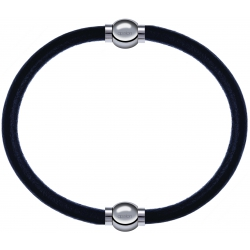 Apollon - Collection MiX - bracelet combinable cuir italien noir - 10,25cm + cuir italien noir - 10,25cm