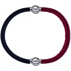 Apollon - Collection MiX - bracelet combinable cuir italien noir - 10,25cm + cuir italien rouge - 10,25cm