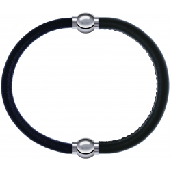 Apollon - Collection MiX - bracelet combinable cuir italien noir - 10,25cm + cuir italien vert militaire - 10,25cm