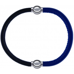 Apollon - Collection MiX - bracelet combinable cuir italien noir - 10,25cm + cuir italien bleu - 10,25cm
