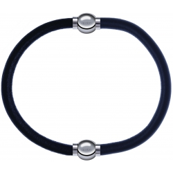 Apollon - Collection MiX - bracelet combinable cuir italien noir - 10,25cm + cuir italien gris - 10,25cm