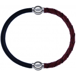 Apollon - Collection MiX - bracelet combinable cuir italien noir - 10,25cm + cuir tressé italien marron - 10,5cm