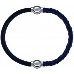 Apollon - Collection MiX - bracelet combinable cuir italien noir - 10,25cm + cuir tressé italien bleu - 10,5cm