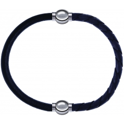 Apollon - Collection MiX - bracelet combinable cuir italien noir - 10,25cm + cuir tressé italien gris - 10,5cm