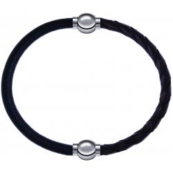 Apollon - Collection MiX - bracelet combinable cuir italien noir - 10,25cm + cuir tressé italien marron - 10,5cm