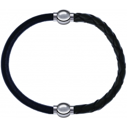 Apollon - Collection MiX - bracelet combinable cuir italien noir - 10,25cm + cuir tressé italien vert - 10,5cm