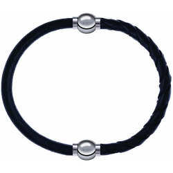 Apollon - Collection MiX - bracelet combinable cuir italien noir - 10,25cm + cuir tressé italien noir - 10,5cm