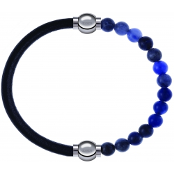 Apollon - Collection MiX - bracelet combinable cuir italien noir - 10,25cm + sodalite 6mm - 10,25cm
