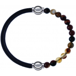 Apollon - Collection MiX - bracelet combinable cuir italien noir - 10,25cm + agate marron 6mm - 10,25cm