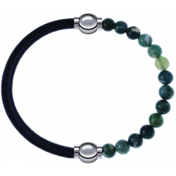 Apollon - Collection MiX - bracelet combinable cuir italien noir - 10,25cm + agate verte mousse 6mm - 10,25cm