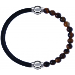 Apollon - Collection MiX - bracelet combinable cuir italien noir - 10,25cm + oeil de tigre 6mm - 10,25cm