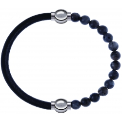 Apollon - Collection MiX - bracelet combinable cuir italien noir - 10,25cm + labradorite 6mm - 10,25cm