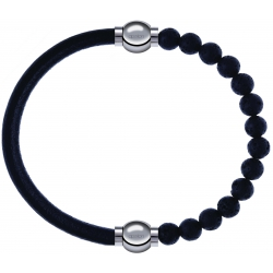 Apollon - Collection MiX - bracelet combinable cuir italien noir - 10,25cm + pierre de lave 6mm - 10,25cm