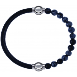 Apollon - Collection MiX - bracelet combinable cuir italien noir - 10,25cm + obsidienne neige 6mm - 10,25cm