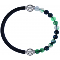 Apollon - Collection MiX - bracelet combinable cuir italien noir - 10,25cm + agate indienne teintée 6mm - 10,25cm