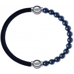 Apollon - Collection MiX - bracelet combinable cuir italien noir - 10,25cm + hématite 6mm - 10,25cm