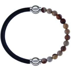 Apollon - Collection MiX - bracelet combinable cuir italien noir - 10,25cm + agate jaspe 6mm - 10,25cm