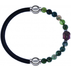 Apollon - Collection MiX - bracelet combinable cuir italien noir - 10,25cm + agate verte 6mm - Bouddha - 10cm