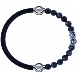Apollon - Collection MiX - bracelet combinable cuir italien noir - 10,25cm + sodalite 6mm - 10cm