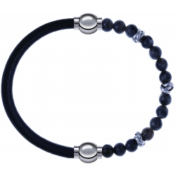 Apollon - Collection MiX - bracelet combinable cuir italien noir - 10,25cm + labradorite 6mm - 10cm