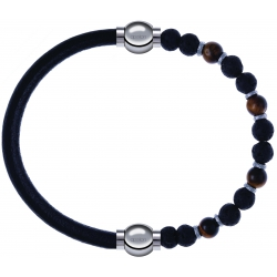 Apollon - Collection MiX - bracelet combinable cuir italien noir - 10,25cm + oeil de tigre - pierre de lave 6mm - 10,75cm