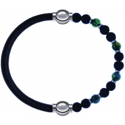 Apollon - Collection MiX - bracelet combinable cuir italien noir - 10,25cm + agate teintée verte - pierre de lave 6mm - 10,75cm