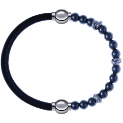 Apollon - Collection MiX - bracelet combinable cuir italien noir - 10,25cm + hématite 6mm - 10cm