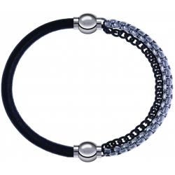 Apollon - Collection MiX - bracelet combinable cuir italien noir - 10,25cm + chaines 2 tons noir et blancs - 10,25cm