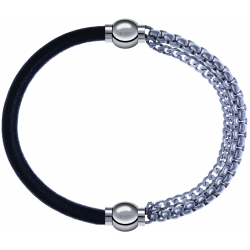 Apollon - Collection MiX - bracelet combinable cuir italien noir - 10,25cm + chaines - 10,25cm