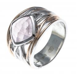 Bague argent rhodié 6,4g - 2 tons - rosé et rhodié - quartz rose - T52 à T60